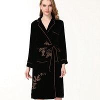 100% шелковые пижамы женские роскошные халаты теплые фланелевые шелковые халаты имитация полный рукав ночное белье зима весна женские шелко