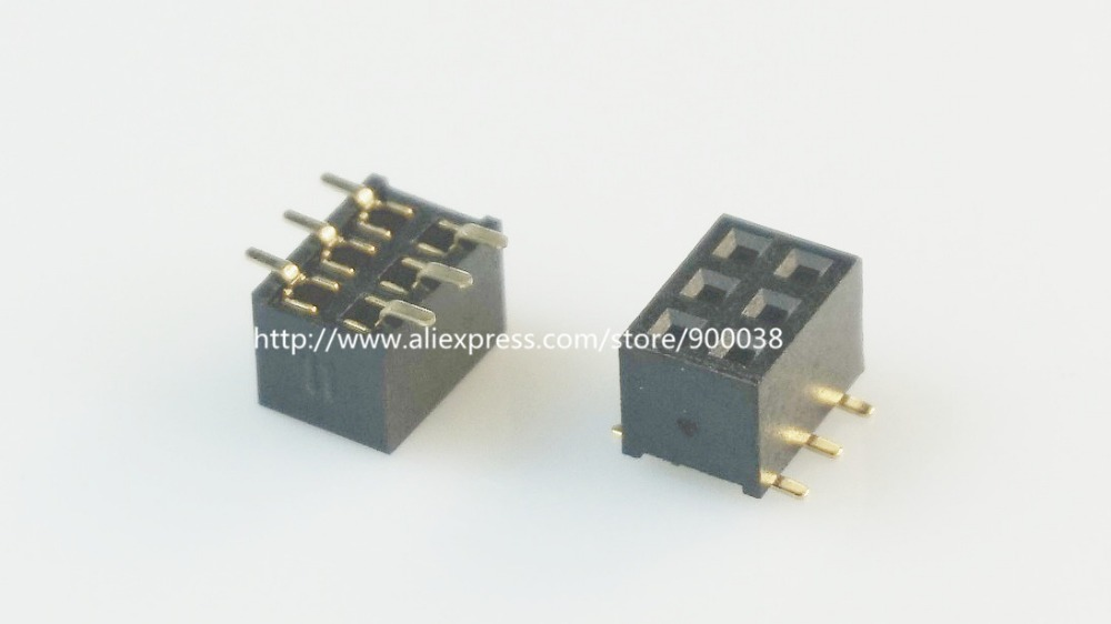 10pcs 2x3 P <font><b>6</b></font> <font><b>Pin</b></font> 2.0 mm <font><b>Pin</b></font> <font><b>Header</b></font> Female Dual row SMT PCB surface Mount SMD reflow solderable in bulk Rohs Lead Free image