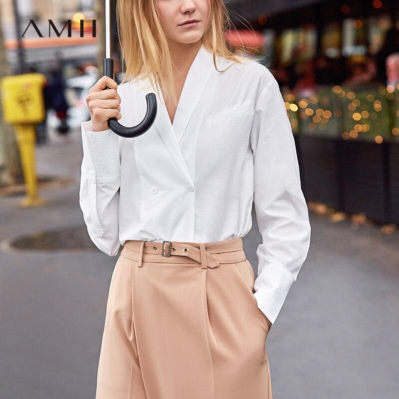 Amii Minimalist Office Women Blouse Spring 2018 New V Neck Solid Long Sleeve Sexy Female Shirts