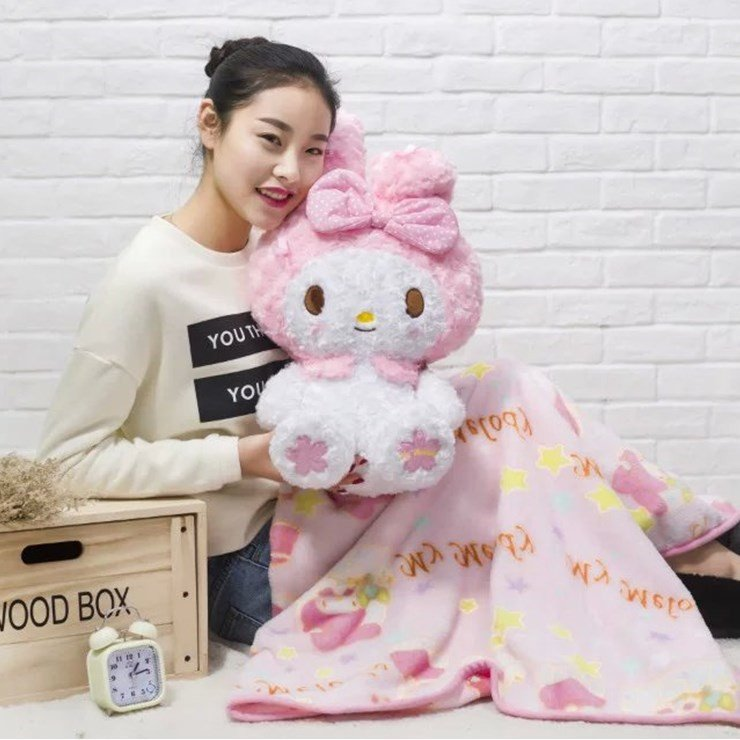 Candice guo! super cute plush toy doll bowknot flower pink my melody cushion blanket girls birthday gift 1pc super cute plush toy dog doll as a christmas gift for children s home decoration 20