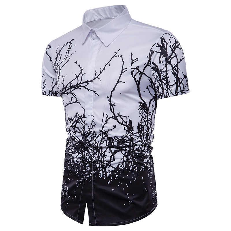 ファッション 3D ツリー Branchs プリントシャツ男性 2018 夏新半袖カジュアルドレスシャツ男性スリムフィットカミーサソーシャル masculina