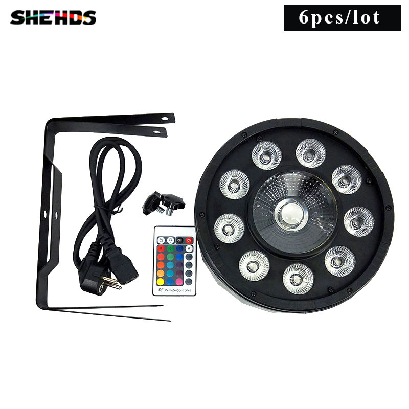 6 pieces Wireless Remote Control LED Par 9x10W+30W 3IN1 RGB LED Stage Light Can With DMX512 Flat DJ Disco Night Lights free shipping 9x10w 30w flat led par lights 9 10w 30w rgbw 3in1 par dmx512 control disco lights professional stage dj equipment