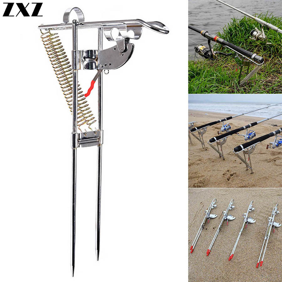 Automatic Adjustable Fishing Rod Pole Rest Stand Holder Bracket Double Spring Tip-Up Hook Angle Fish Accessory Device Outdoor T4