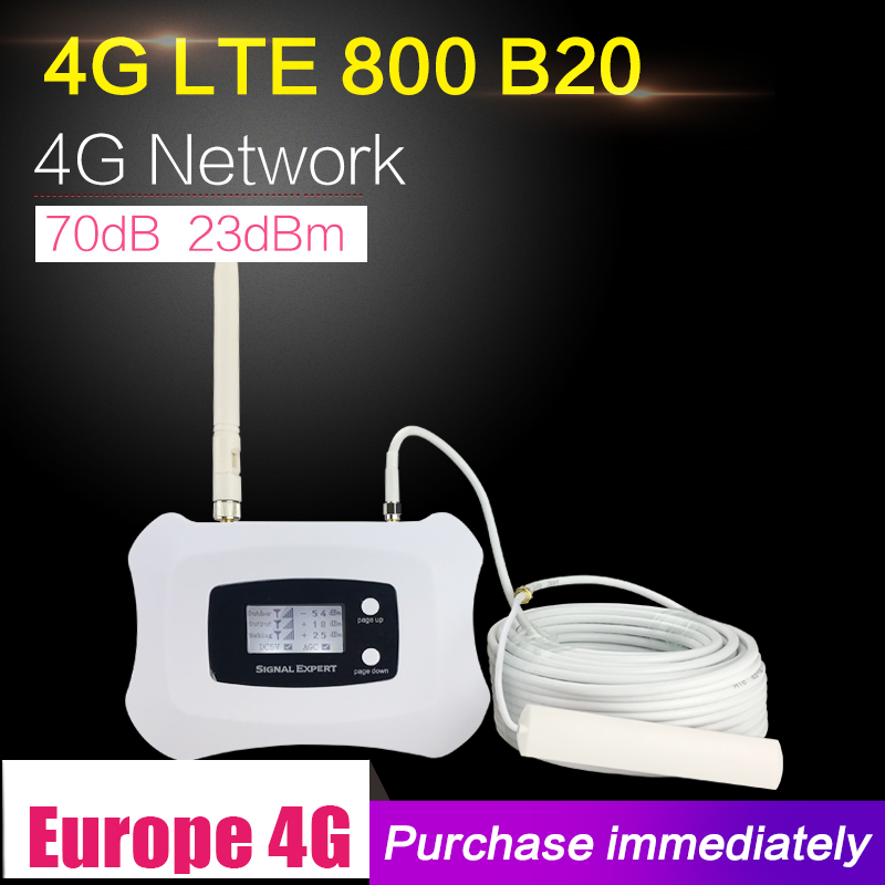 4G LTE 800 mhz Bande 20 70dB téléphone portable amplificateur de signal Cellulaire Booster LTE 800 Mobile Répéteur 4G Booster Antenne ensemble Pour La Maison