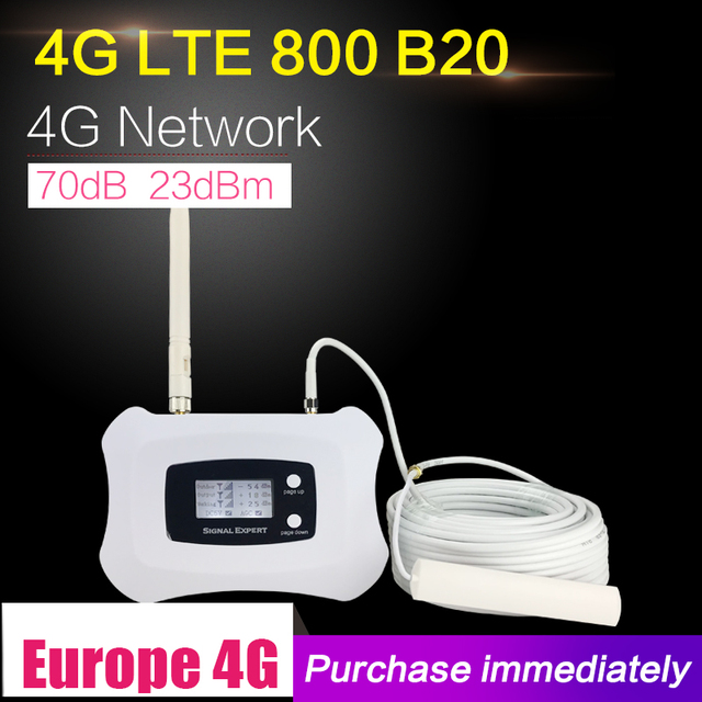 4G LTE 800mhz Band 20 70dB усилитель сигнала сотового телефона усилитель сотовой связи LTE 800 мобильный ретранслятор 4G усилитель антенны Набор для дома