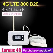 4G LTE 800mhz Banda 20 70dB Cellulare Amplificatore di Segnale Del Telefono Cellulare Booster LTE 800 Ripetitore di Telefonia Mobile 4G booster Antenna Set Per La Casa