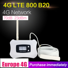4G Lte 800Mhz Band 20 70dB Mobiele Telefoon Signaal Versterker Cellular Booster Lte 800 Mobiele Repeater 4G booster Antenne Set Voor Thuis