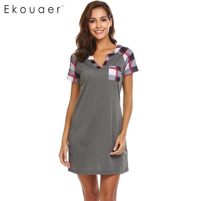 Ekouaer Women Nightgowns Casual Nightwear Plaid Short Sleeve Nightshirts  V-Neck Loose Sleepwear Female Chemise Dress Home Cloth 774f1dd51