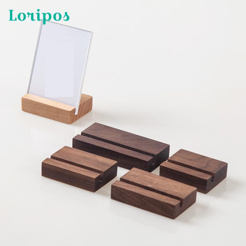 Wooden Photo Frame Stand Acrylic Label Cover Menu Stand Merchandise Info Display Picture Holder Stand Desk Sign Name Card Holder