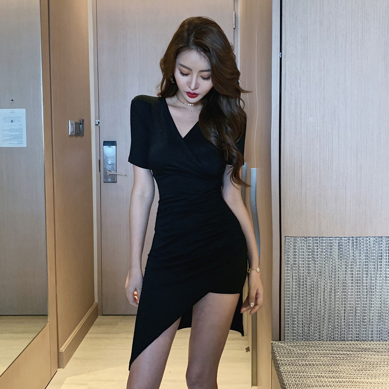 JIBAIYI Elegant Slim Irregular V-collar Dresses Summer Short Sleeve Women Sexy Bandage Dress Club Bodycon Sheath Robe Vestidos