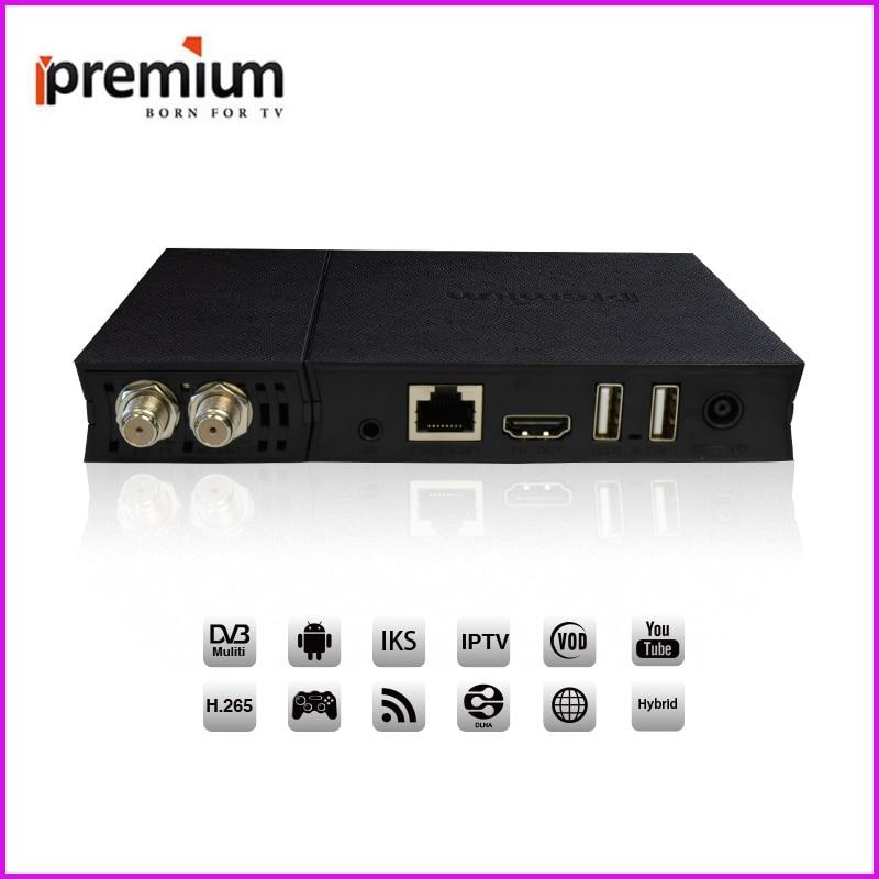 Ipremium I9 Pro Smart 4K Andorid Tv Box Satellite Tv Receiver With DVB-S2 / DVB-T2 / DVB-C 4 in 1 Functions i box rs232 dvb s satellite smart sharing nagra 3 dongle black