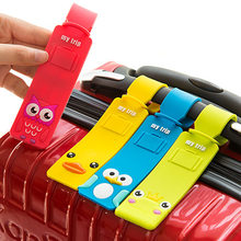 Cute Cartoon Silicone Travel Luggage Tags Baggage Suitcase Bag Labels Suitcase Name Address Holder Wholesale(China)