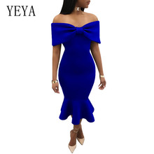 YEYA Sexy Ruffles Bodycon Summer Dress New Style Bow Cape Off Shoulder Mermaid Women Elegant Formal Prom Party Vestidos