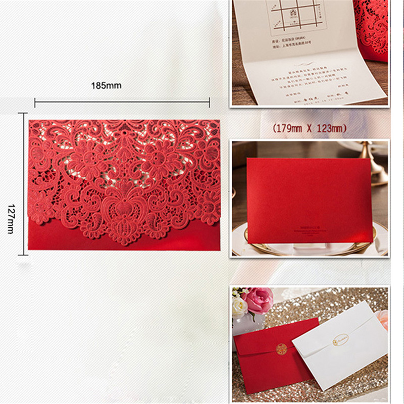 1pcs Gold Red White Laser Cut Luxury Flora Wedding Invitations Card