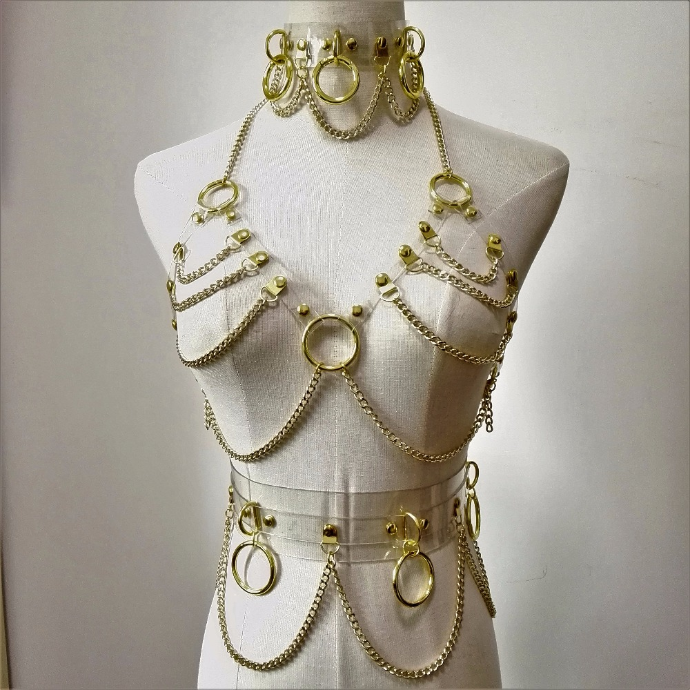 Image 2 - new Fashion Sexy Harajuku Handmade Choker harness punk Collar belt Necklace Spikes and Chain torques club party two layersfashion chokerfashion necklacenecklace fashion -