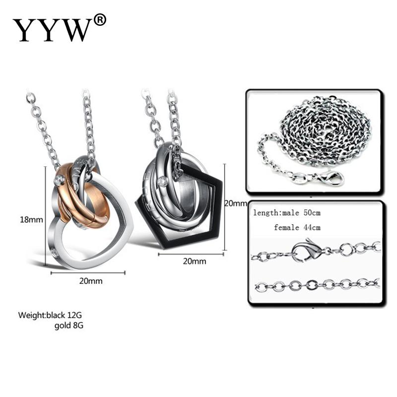 Pendant Necklace Couple Necklace Stainless Steel With Crystal Heart Round Intersecting Black Gold Color Plated Jewelry