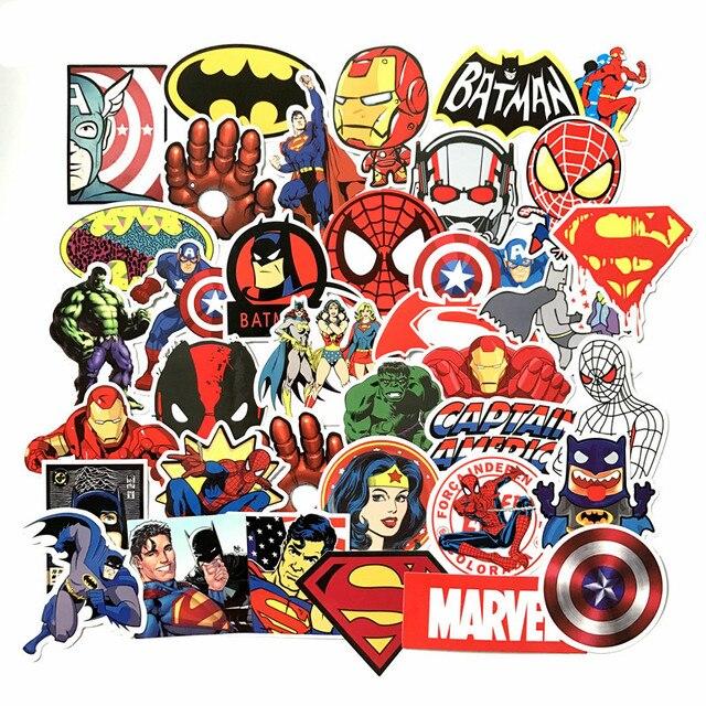 50 шт./лот наклейки Marvel Мстители супер герой DC комиксов автомобиль ноутбук тетрадь наклейка на Холодильник Скейтборд Бэтмен Супермен Халк Железный человек