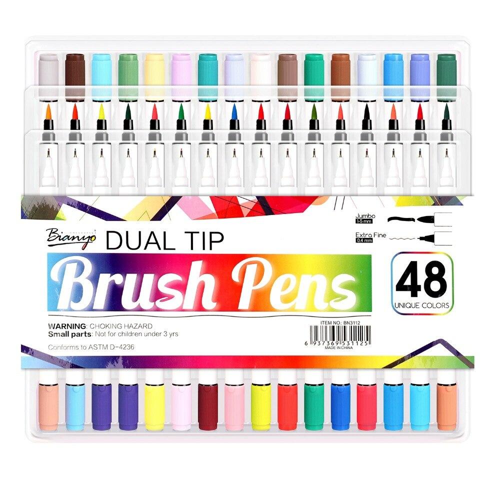 Bianyo 48 couleur double pointe pinceau Fineliner stylo pour la conception d'artiste, doux à base d'eau couleur pinceau marqueur pour bande dessinée dessin Art fournisseur