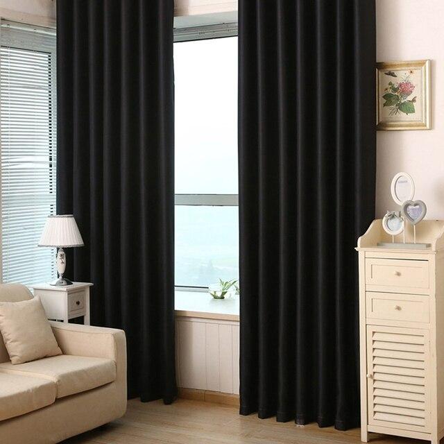 2pcs Black Out Curtain Living Bedroom Grommet Panels Cortinas Rideaux Curtains Hook Drapes Linen