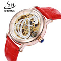 Fashion Design White Swan Watches Shenhua Top Luxury Brand Skeleton Automatic Mechanical Watches Women Bling Crystal Wrist Watch