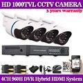 HD 1080 P de saída Camera Kit CCTV 4CH Completa 960 H DVR Onvif 1080 P DVR NVR HVR + 4 X Ao Ar Livre 1000TVL IR-CUT Câmera de Segurança Kit