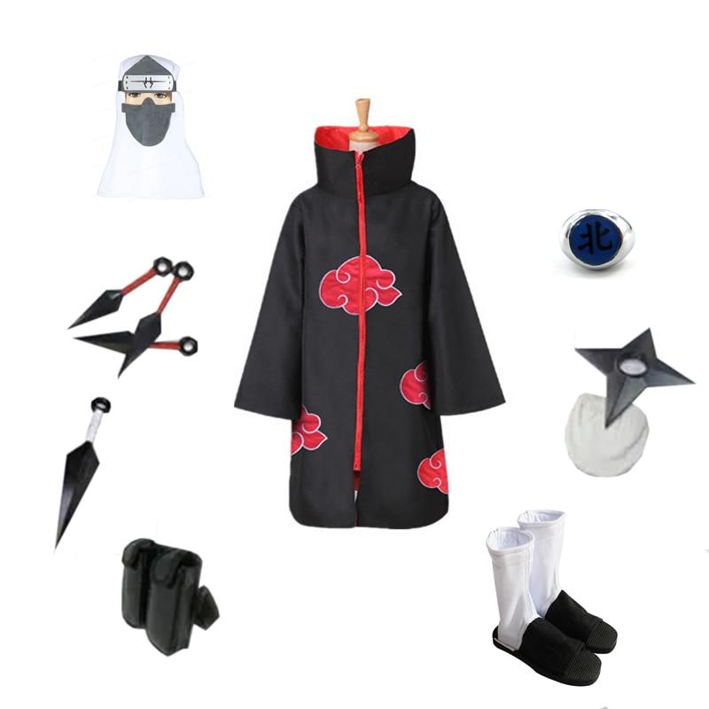Naruto Long Robe Halloween Cosplay Costume Akatsuki Cloak Headband Necklace Ring