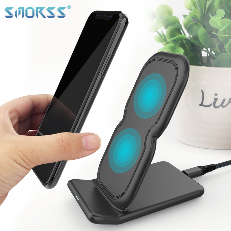SMORSS Wireless Charger Charging Pad Stand For iPhone X 8 Plus USB Fast Charging pad For Samsung S8 Plus Note 8 10W