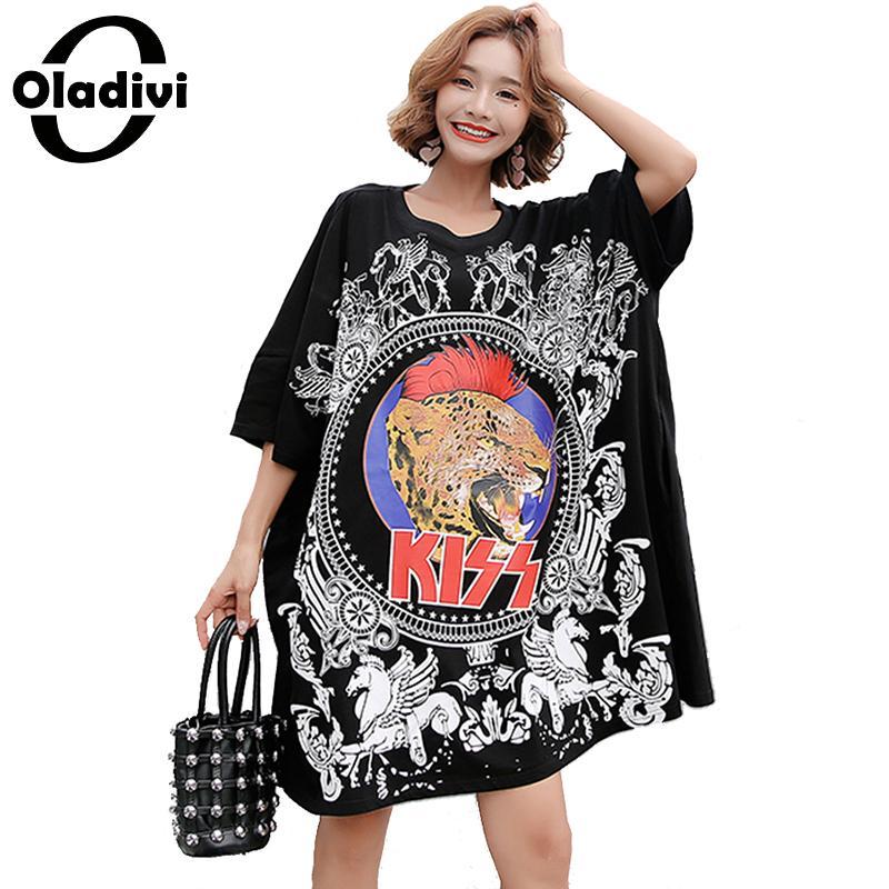3adaae9a010e Oladivi de gran tamaño más el tamaño de las mujeres de la manera de  imprimir el vestido de la camisa de las señoras Casual suelto MIni Vestidos  de ...