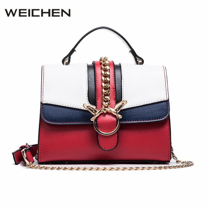 Women Leather Handbags High Quality Chain Patchwork Designer Bags Famous Brand Women Bags 2018 Shoulder Bag Female Bolsos Mujer high quality pu leather metal buckle luxury handbags women bags designer small women shoulder over bags bolsos de mano female