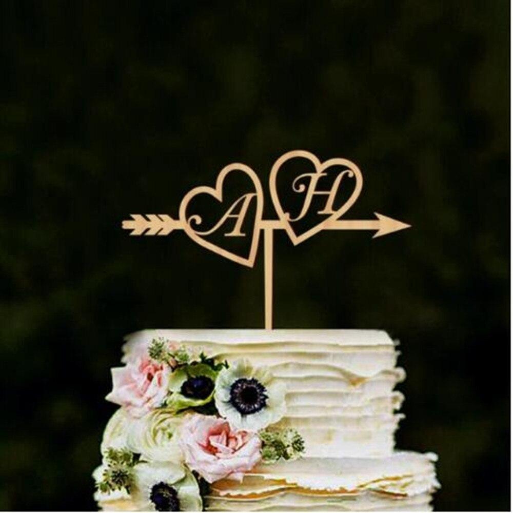 Home Garden Personalised Name Initials Heart Arrow Wedding Cake Topper Custom Made Cake Sign Rudisbakery Com