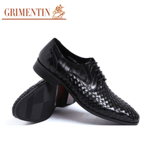 GRIMENTIN Fashion designer genuine woven leather mens dress shoes casual sales business oxford male shoes men flats for wedding