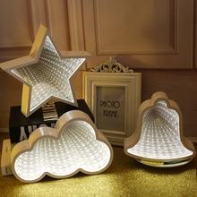 Creative 3D Stars LOVE Novelty Cloud Tunnel Lamps Cute Heart Pineapples Night Light Led Decor Lamp