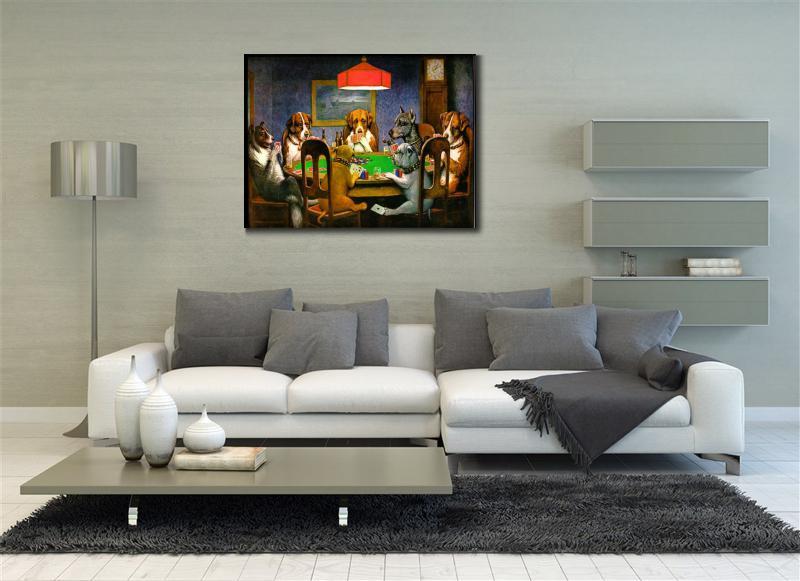 Կտավ արվեստի յուղաներկ շներ Playing Poker by - Տնային դեկոր - Լուսանկար 3