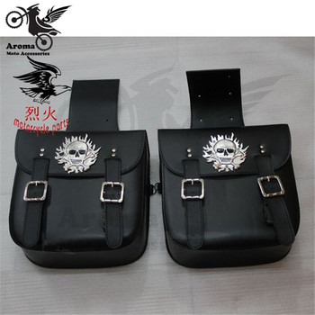 1 pair skull fire decal model universal motorcycle saddlebag for honda yamaha Kawasaki harley bags moto saddle bag motorbike