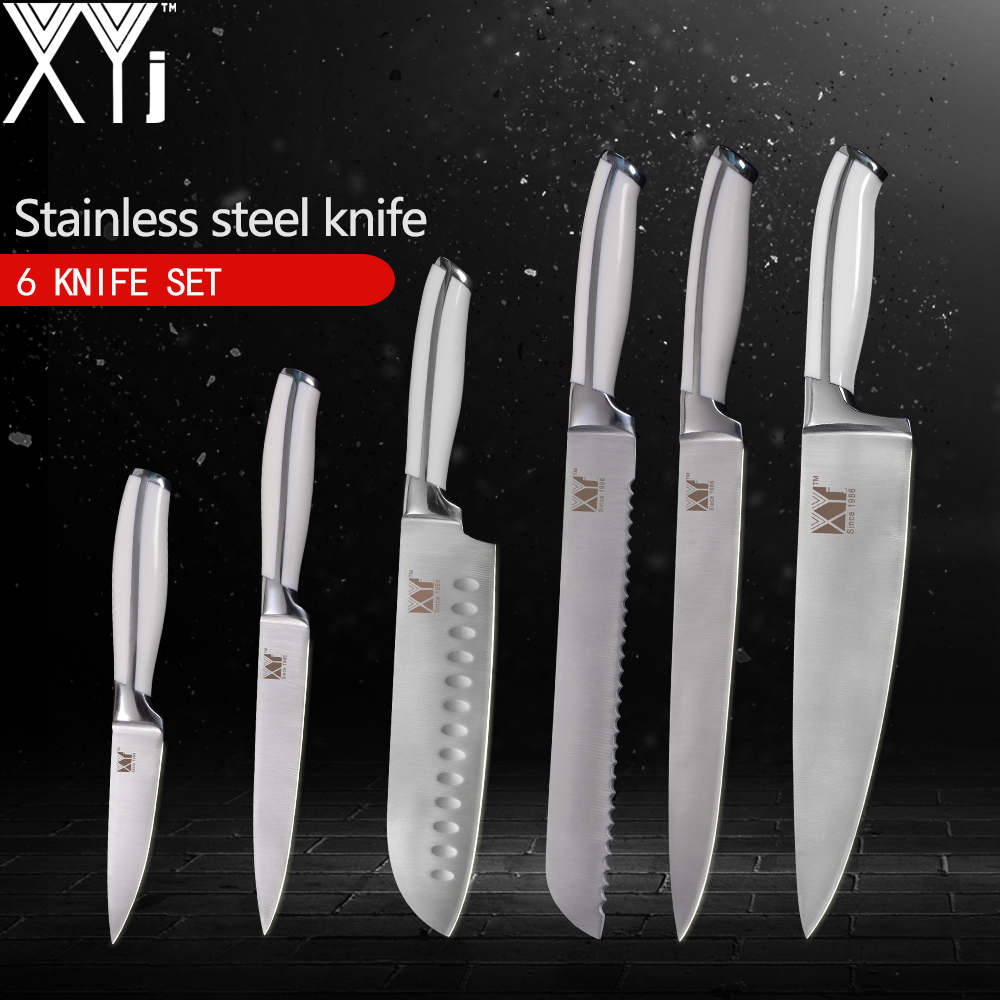 XYj Kitchen Knives 6pcs Set 3 5 5 7 8 8 8 inch High Carbon 7Cr17Mov