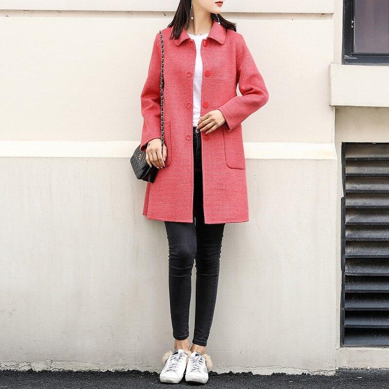 Nuovo doppio sided cashmere cappotto in primavera del 2019 100% cappotto di lana per le donne cappotto a quadri rosso di lana cappotti giacca lunga di inverno - 2