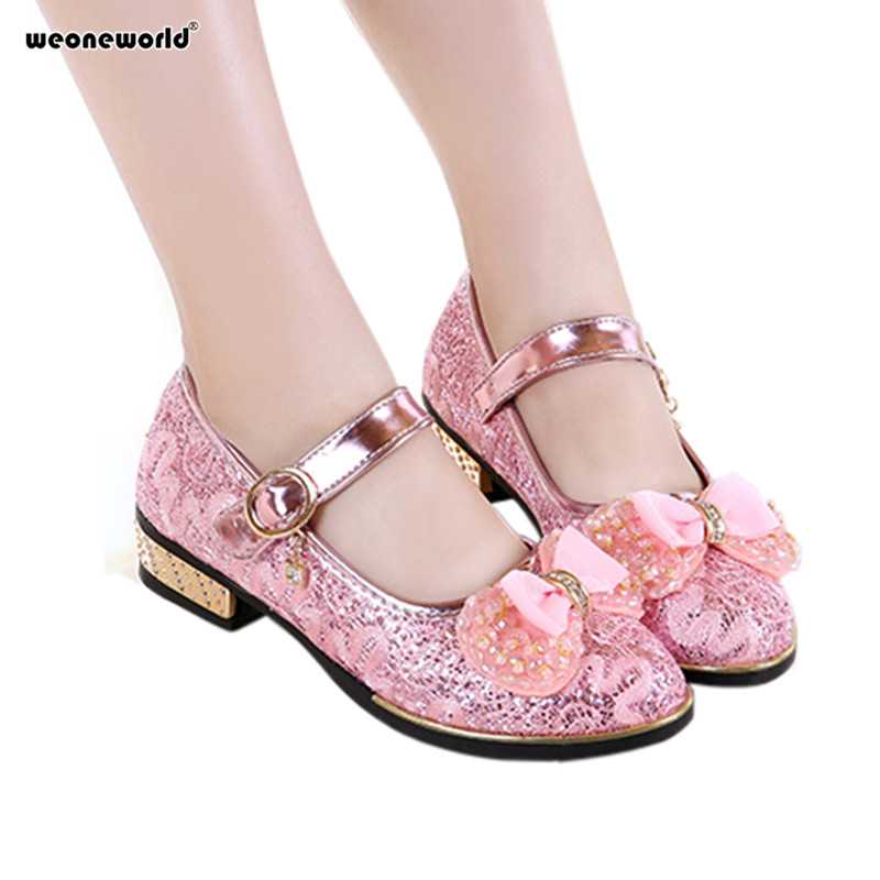 Weoneworld Pink Girls Shoes 2018 Lovely Pu Leather Bow Flower