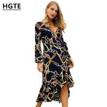 9f707f70fac54f HGTE 2019 vrouwen midi fashion vintage jurk Restaurant party dames mooie jurk  Lange mouwen chain gedrukt