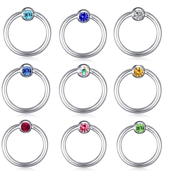 Junlowpy 1pcs Steel Crystal Nose Ring Eyebrow Piercings Curved