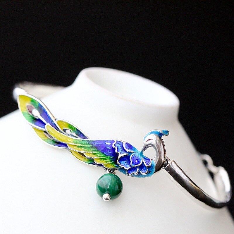 Alberi Rosso Fine Jewelry Reale 925 Sterling Silver Smalto Braccialetti Per Le Donne Con Natural Malachite Pietra Di Modo Del Pavone Forma Luminoso A Colori