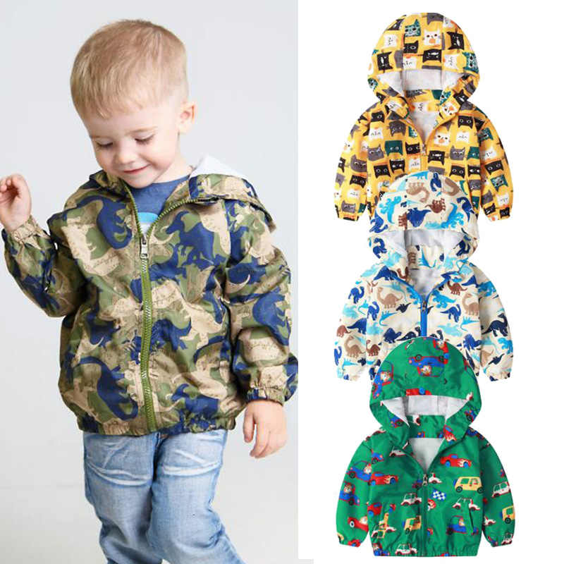 Baby Boys jacket Autumn spring Girls Kids Outerwear Windbreaker Coats Hooded dinosaur jacket Canvas toddler Children Clothing