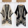 Старинные геометрическая трикотажные кимоно рукав кисточкой хем женщин свитер Autunm зима кардиган свитера женщин пальто