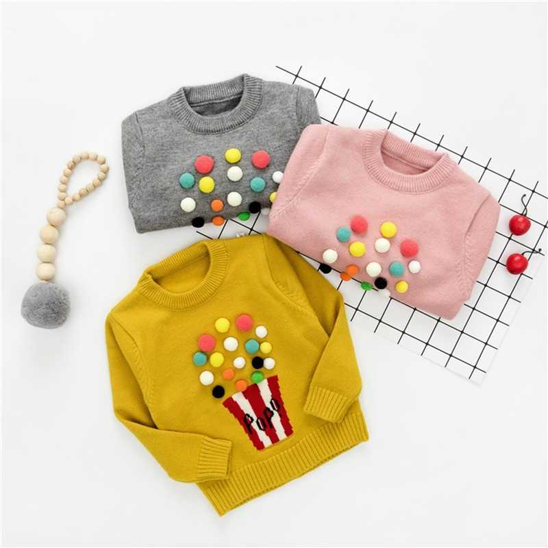 21ad4ae6d32d4c ... Autumn Baby Girls Long Sleeve O Neck Popcorn Knitwear Winter Embroidery  Warm Sweater Pullover Jumper Kids ...