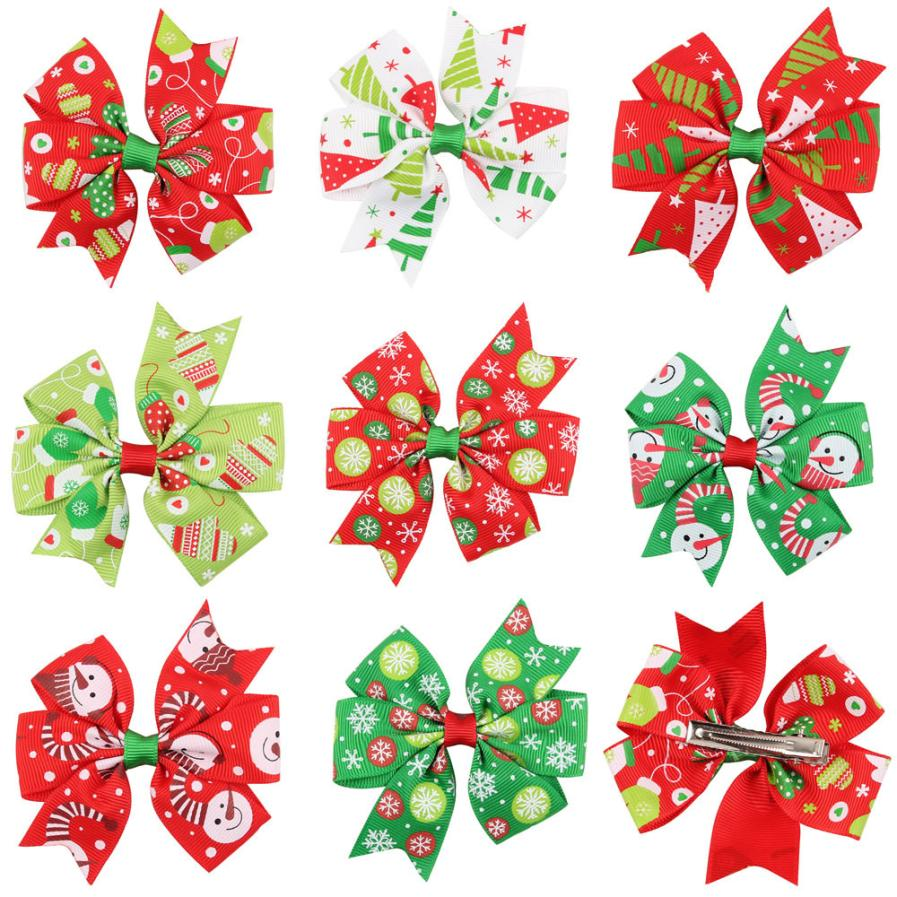 Baby Girls Christmas Ornaments Bowknot Hairpin Headdress Gift Hairpins Hair Band Accessories Headwear Christmas Hairbands