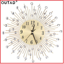 OUTAD Modern Art Large Wall Clock Metal Sunburst Clear Diamante Crystal Mute Wall Clock Home Decor