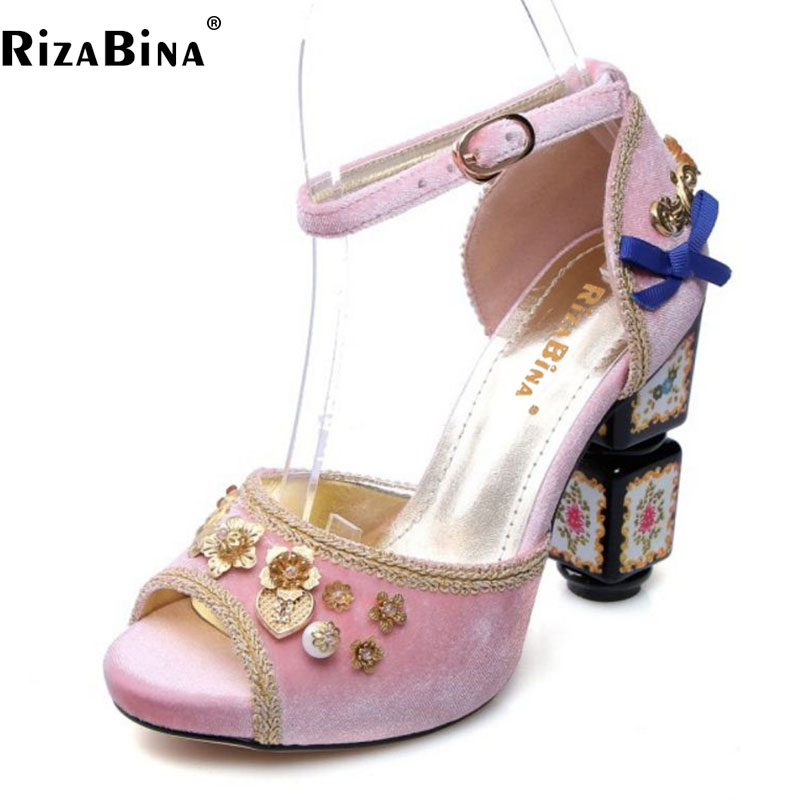 RizaBina Size 34-43 Brand Women'S Genuine Leather High Heel Sandals Flower Ankle Strap Thick Heels Sandal Women Party Club Shoes anckle strip women thick heels sandals closed toe flower ethnic style handmade genuine leather personalized women sandal
