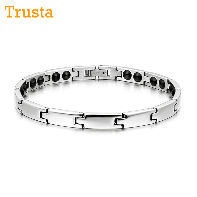 Trusta Fashion Women/Men's Silver Germanium 316L Stainless Steel Therapy Bracelet Energy Power Bangle Friend Birthday TG4603