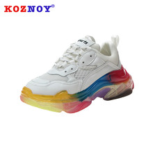 Koznoy Sneakers Women Spring Thick Bottom Dropshipping Transparent Rainbow Muffin Fashion Breathable Mesh Shoes