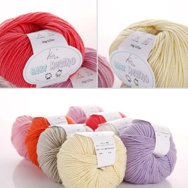 Envío Gratis G 50g/Ball Baby Line 100% Merino lana bufanda tejida a ...