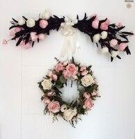 Simulación Flor de Rose Garland Adornos Decorado Puertas de Dintel de Corazón en forma de Corona de Flores Artificiales Inicio Boda Decoraciones